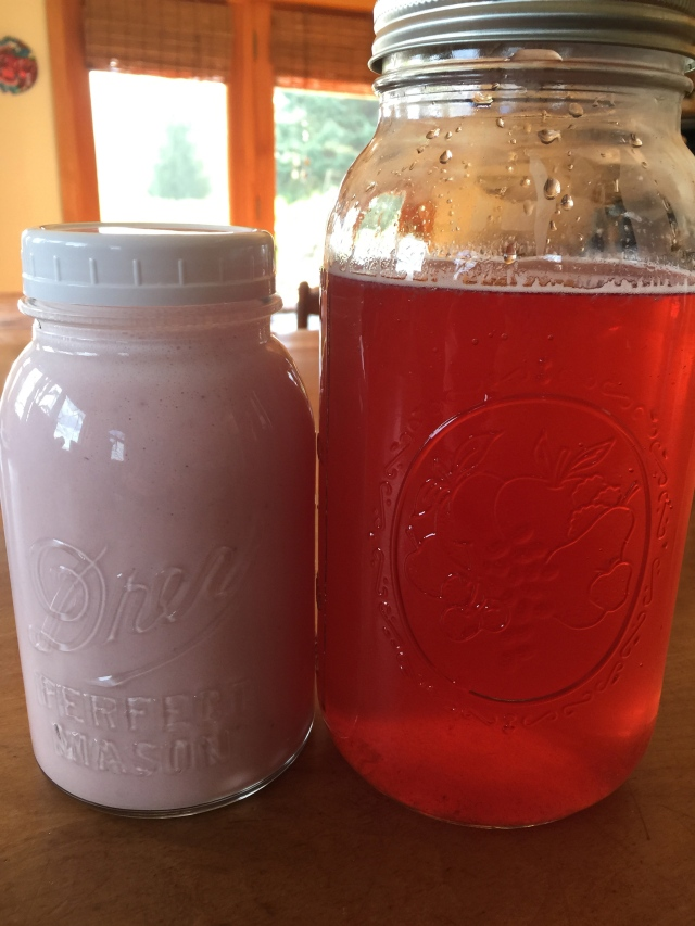 kvass and strawberry yogurt